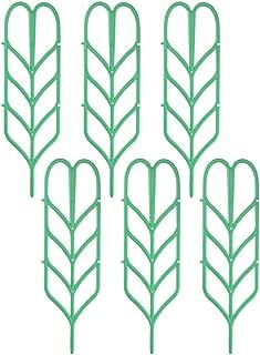 Anpatio 6Pcs Garden Trellis Plastic Indoor Plant Trellis Green Stackable Leaf Shape Mini Climbing Plant Stakes DIY Flower Pot Support for Pea Vegetable Clematis