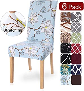 SearchI Dining Room Chair Covers Slipcovers Set of 6, Spandex Fabric Fit Stretch..