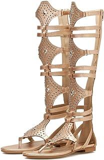 02288821b3ee8d Fanessy Femmes Mode Sandales d'été Flat Gladiateur Bottes Romain Bootes  hauteurs Fermeture éclair nouir