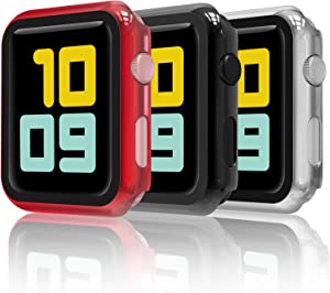 Hianjoo (3 Pack) Case Compatible with Apple Watch Series 3 Series 2 42mm, Built-in Ultra Thin HD Tempered Glass Screen Protector Overall Cover Replacement for iwatch 42mm, Black/ Silver/ Red