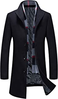 Men's Stand Collar Wool Trench Coat with Detachable Scarf Quilted Top Coat