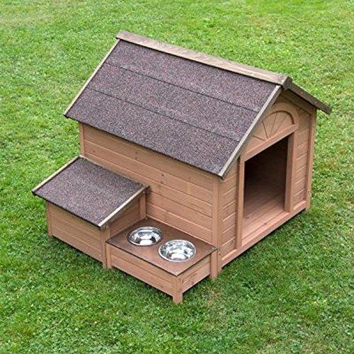 Komfort Hundehütte Spitzdach erhöhter Futterplatz Holz Garten Außen Aufbewahrungsbox