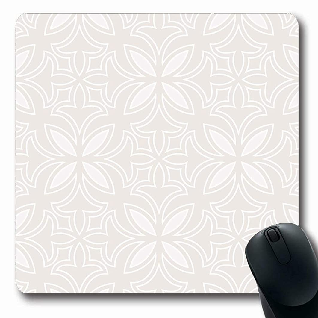 Ahawoso Mousepads Floral Flower Abstract Pattern Beige Carpet Baroque Royal Simple Design Oblong Shape 7.9 x 9.5 Inches Non-Slip Gaming Mouse Pad Rubber Oblong Mat
