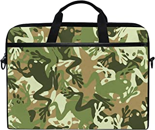 MASSIKOA Frog Camouflage Laptop Shoulder Messenger Bag Case Sleeve for 14 Inch to 15.4 inch Laptop