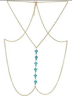 Crunchy Fashion Metal Crosses Body Chain for Women (Golden)