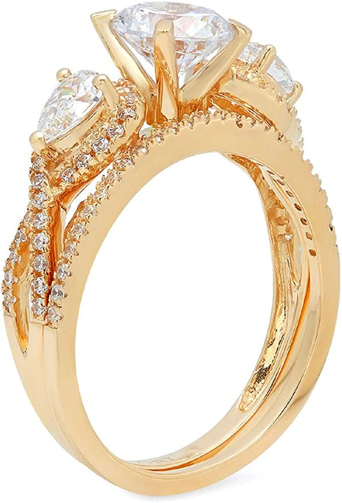 2.1 ct Round Pear Cut Solitaire 3 stone With Accent Genuine Flawless Moissanite Designer Statement Classic Engagement Bridal Ring Band wedding Set Solid 18K Yellow Gold
