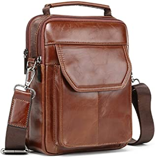 Men's Vintage Bag - Handmade Leather Bag, First Layer Leather Shoulder Crossbody Bag, Fashion Casual Sports Tote