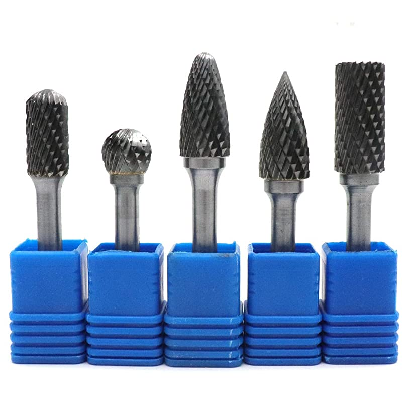 ZXHAO 12mm Dia 1/4 inch Shank Double Cut Tungsten Carbide Rotary File Cutting Burs Tool Rotary Drill Die Grinder Bits 5pcs