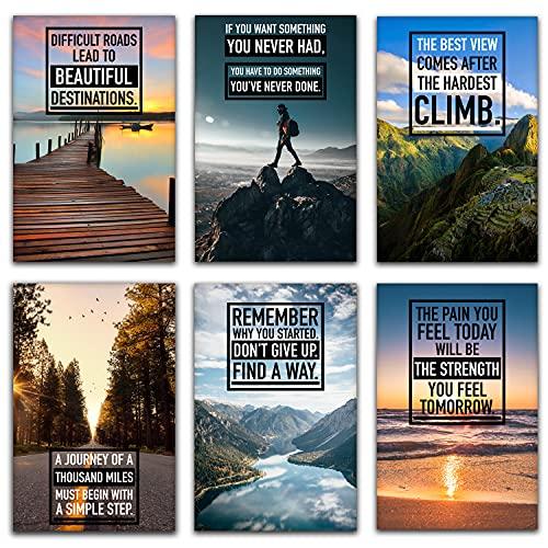 Motivational Wall Art - Inspirational Wall Art, Motivational Posters, Wall Art for Office, Motivational Posters For Office, Inspirational Posters, Motivational Wall Decor, Set of 6 11x17 in.