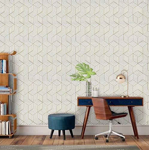 Papel pintado autoadhesivo Papel pintado geométrico hexagonal Papel de vinilo extraíble Decoración del hogar