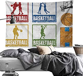 Custom Nature Decor Tapestry Basketball,Collection of Vintage Rubber Stamp Print Illustration Basketball Players, Navy Green Red,Tapestries Mysterious Wall Tapestry for Home Decor 70