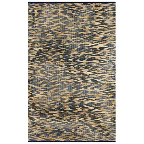 vidaXL Tappeto Artigianale Manuale Corsia Passatoia Rettangolare Rustica Cucina Protezione Pavimento in Juta Intrecciata Blu e Naturale 80x160cm