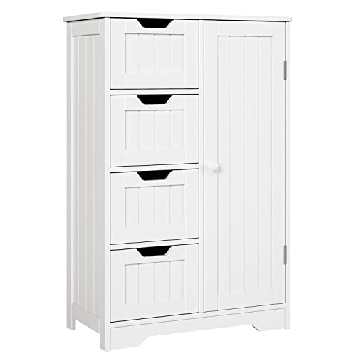 HOMFA Bathroom Floor Cabinet, Wooden Side Storage Organizer Cabinet with 4 Drawer and 1 Cupboard, Freestanding Unit for Better Homes and Gardens Office, White