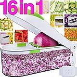 Lightning Deal Pro Vegetable Chopper-Onion Chopper Dicer-No More Tears-Peeler Food Chopper Salad Chopper Kitchen Cutter Vegetable Spiralizer Vegetable Slicer Cheese Grater Egg Slicer-16 In 1