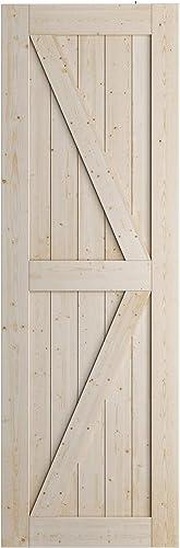 popular SmartStandard 28in x 84in Sliding Barn Wood Door online sale wholesale Pre-Drilled Ready to Assemble, DIY Unfinished Solid Spruce Wood Panelled Slab, Interior Single Door Only, Natural, K-Frame (Fit 4FT-5FT Rail) outlet sale