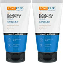 Acne Free Blackhead Exfoliating Face Scrub With 2% Salicylic Acid And Charcoal Jojoba, Pack of 2, 5 Fluid Ounce Each