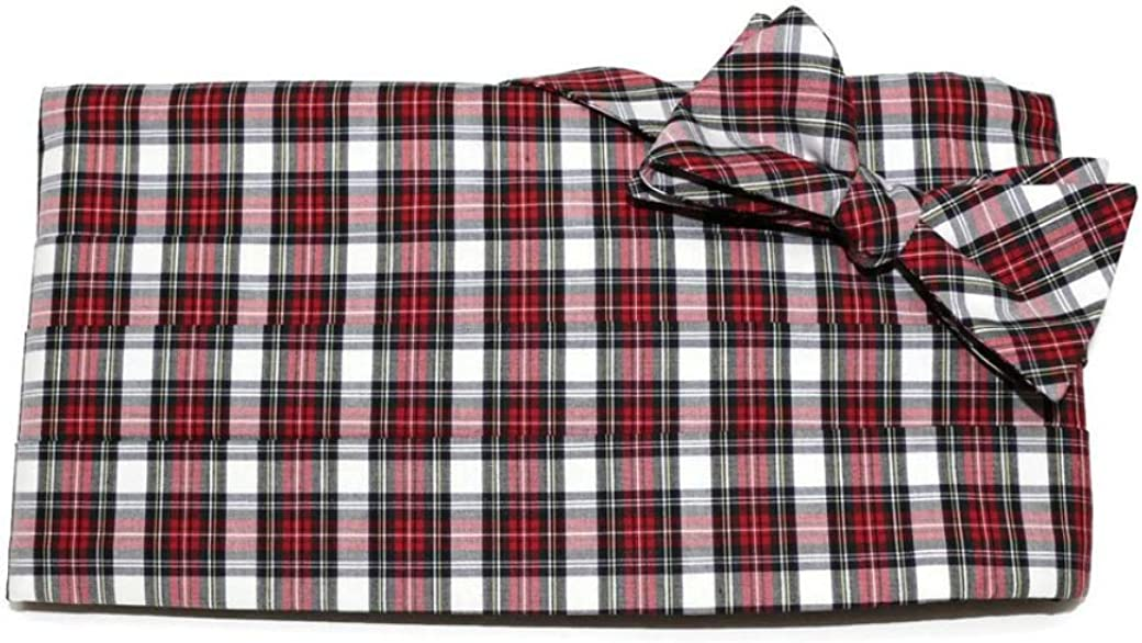 Red White Horizontal Tartan Plaid Cummerbund and Pre-Tied Bow Tie Set