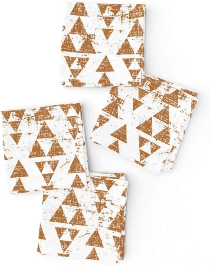 Amazon Com Roostery Cloth Cocktail Napkins Copper Triangle Texture Geometric Brown Print Linen Cotton Canvas Cocktail Napkins 10in X 10in Set Of 4 Home Kitchen