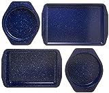 paul dean set - Paula Deen 46812 Speckle Nonstick Bakeware Set with Baking Pan, Cake Pans and Cookie Sheet / Baking Sheet - 4 Piece, Deep Sea Blue Speckle