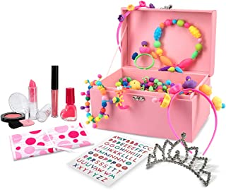Kid's Snap Pop Beads and Princess Dress Up Set, 600+ Pcs, 53 Unique Bead Shapes, DIY Rings, Hairbands, Jewelry Box, ABC Stickers, Pouch, Blush + Brush, Lipstick, Gloss, Tiara, Nail Polish & More