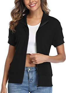 Womens Zip up Jackets Sweatshirts Stand Collar Running Jackets with Pockets