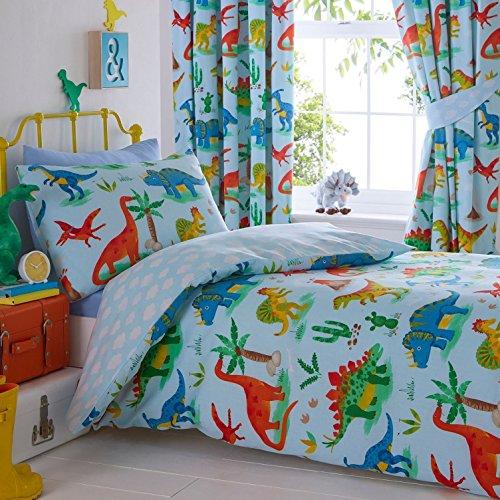 Juego de Funda de edredón y Funda de Almohada para Cama de Kids Club Dinosaurs, poliéster, algodón, Azul, Individual
