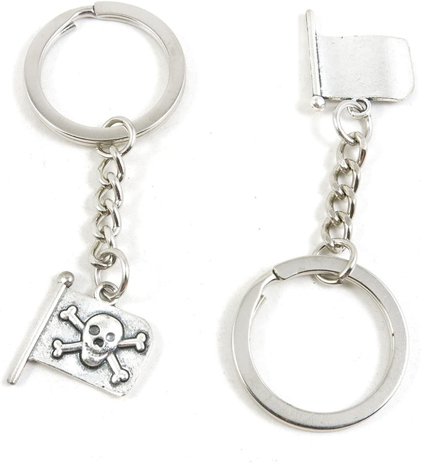 210 Pieces Fashion Jewelry Keyring Keychain Door Car Key Tag Ring Chain Supplier Supply Wholesale Bulk Lots T4PV3 Pirate Skull Flag