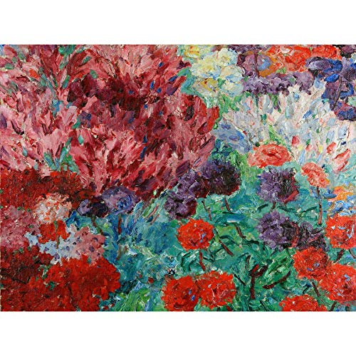 Nolde Kunstdruck auf Leinwand, Motiv: Blumengarten, lebhaftes Gemälde