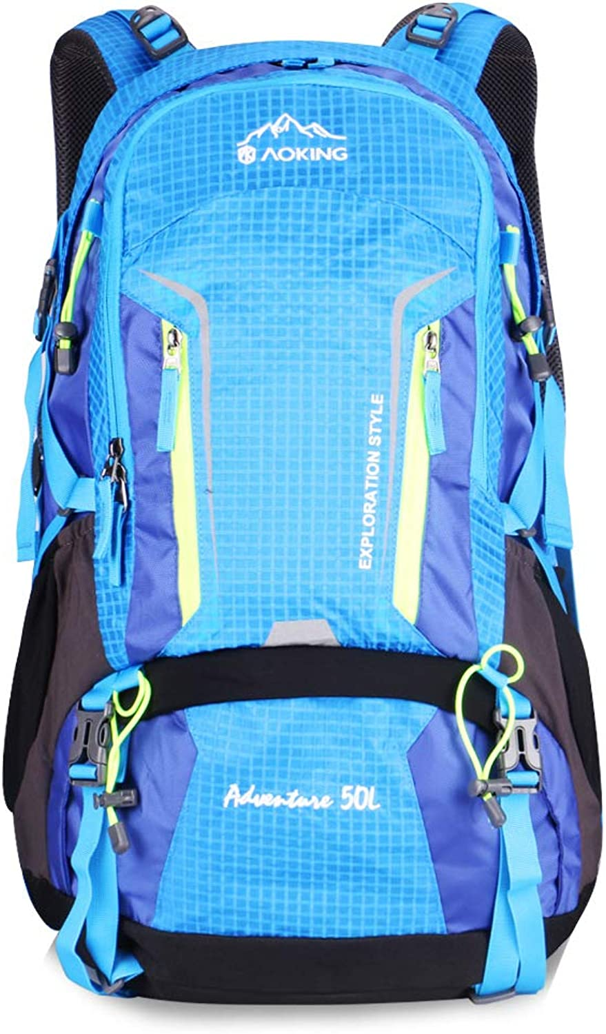 50L Waterproof Lightweight Trekking Rucksack Hiking Backpack for Outdoor Sport Travel Cycling Climbing Mountaineer Climbing with Rain Cover