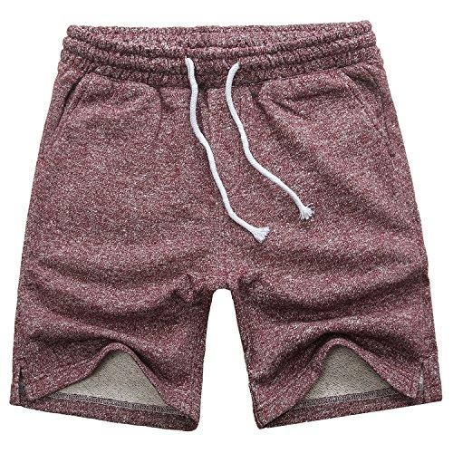 Manwan walk Men's Casual Classic Fit Cotton Elastic Jogger Gym Drawstring Knit Shorts (Large, Red)