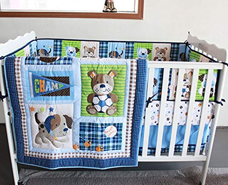 WINLIFE Sports Animals 7pcs Crib Bedding Set Baby Boy Bumper