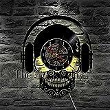 KDBWYC Escuchar música diseño de Calavera Arte Decorativo Reloj de Pared Auriculares Disco de...