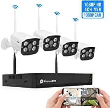 1080P Wireless Security Camera System Outdoor Indoor Plug&Play 4-Channel NVR 4Pcs 2MP WiFi Video Surveillance Cameras H.265 with Night Vision, Motion Detection, P2P, 24/7 Recording, No Hard Drive