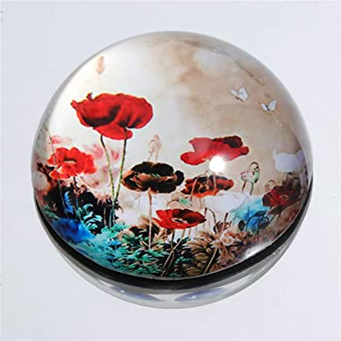 Waltz&F Crystal Flower Paperweight Galss Globe Hemisphere Home Office Table Decoration2.75''
