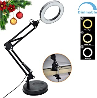 Flexible Arm Desk Lamp, Dimmable LED Work Desk Lamps-6W, Clamp-on Desk Light,Eye-Care Soft Light, Reading Lamp, Bedroom Lamps, Multi-Joint Adjustable Arm Desk lamp, Black Painted with Metal Clamp