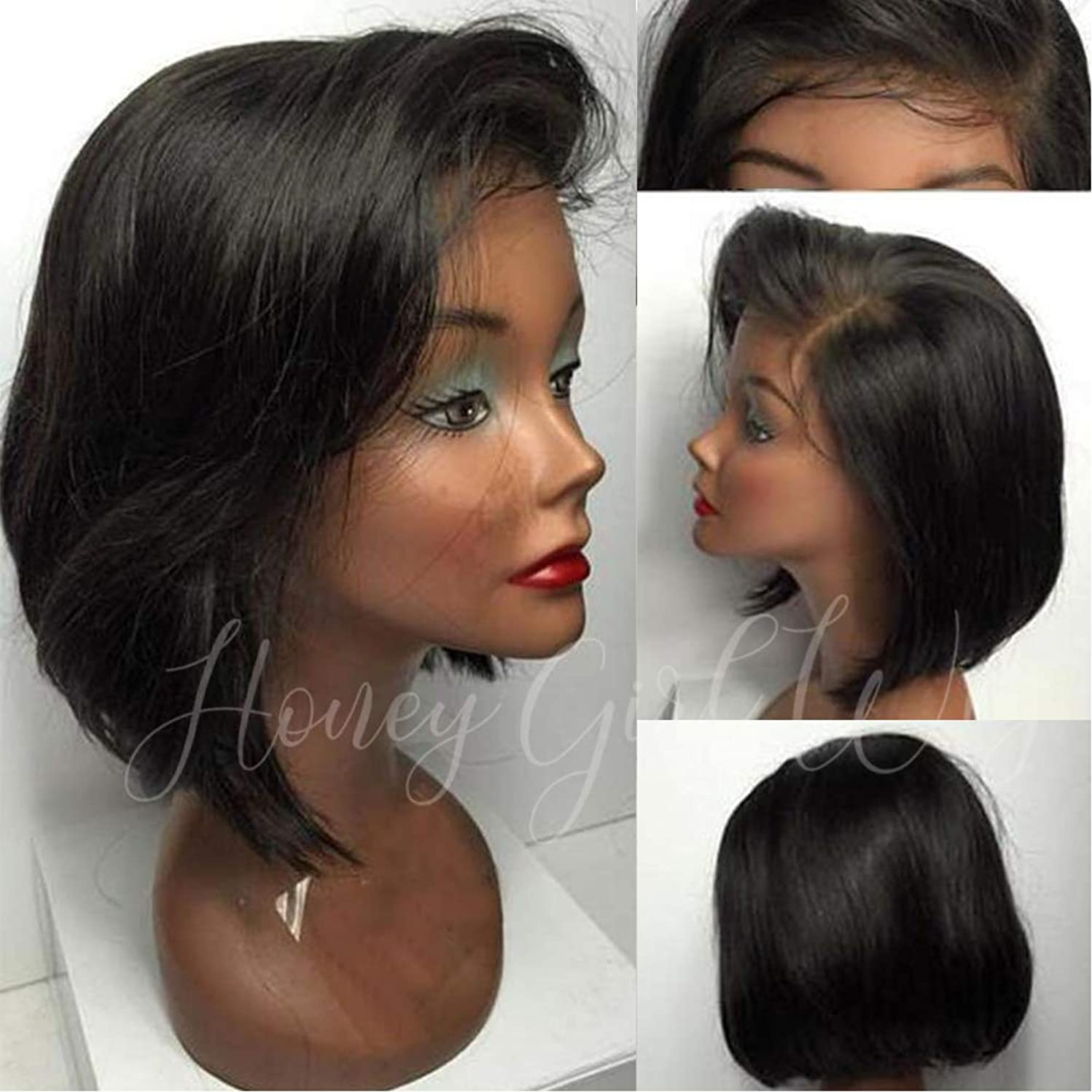 Glueless Full Lace Wigs Human Hair Pre Plucked 9A Brazilian Human Hair Wigs 150% Density Full Lace Human Hair Wigs Pre Plucked Bleached Knots Bob Wig Human Hair Full Lace Wig Human Hair Short Bob 14