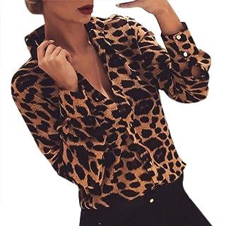 TIFIY Top a Maniche Lunghe con Stampa Leopardata a Bottone a Manica Lunga da Donna Elegante Sexy Casual Tops Blusa Taglie ...