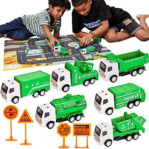 HERSITY 11 pcs Pull Back Camion Jouet avec Tapis et Panneaux de Signalisation, Camion Poubelle, Camion à Benne, Jouet Enfant Garçon Fille 3 4 5 6 Ans