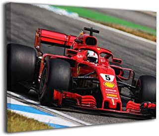 Robprint F1 Formula One Sebastian Vettel Ferrari Racing Car Box Wall Pictures Poster Prints Home Decorations for Ready to Hang 20 X 16 Inch