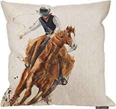HGOD DESIGNS Cowboy Pillow Cover,Watercolor Cowboy Riding A Horse Ride Calf Roping Painting Cotton Linen Cushion Covers Home Decorative Throw Pillowcases 18x18inch