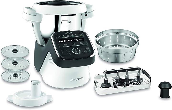 Krups Prep&Cook XL, Robot da cucina multifunzione 1550, con funzione di cottura: 12 programmi automatici HP50A8
