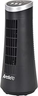 Arctic-Pro MINI DESK OSCILLATING TOWER FAN By Slim and Compact Size, 2-Speed, Ultra-Quiet Operation, Convenient Carrying Handle, 75 Degrees of Oscillation For Powerful Circulation, 12 Inches, Black