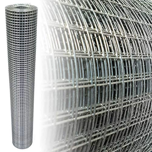 Volierendraht Verzinkt Maschenweite 12x12mm 4-Eck verzinkter Stahl Drahtgitter (100cm x 5m, 1,40mm dick)