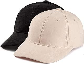Women Baseball Cap Dad Hat - Cap for Women Men Adjustable Faux Suede Cap 2 Pack
