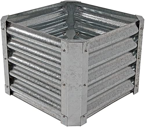 popular Sunnydaze new arrival Raised Metal Garden Bed Kit, 2021 Galvanized Steel 22-Inch Square Planter for Plants and Vegetables, 16 Inches Deep online sale