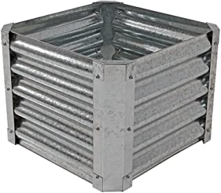 Sunnydaze Raised Metal Garden Bed Kit, Galvanized Steel 22-Inch Square Planter for Plants and Vegetables, 16 Inches Deep