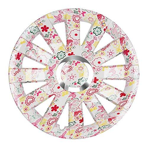 (Farbe und Größe wählbar!) 15 Zoll Radkappen ONYX (Flowers) passend für fast alle Fahrzeugtypen (universell) - vom Radkappen König
