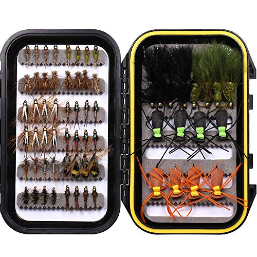 wifreo Fly Fishing Flies Kit - 64pcs Fishing Lures - Dry Wet Nymph...