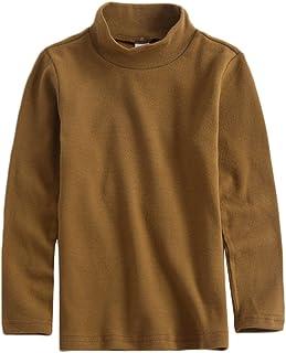 KISBINI Unisex Boys Girls Cotton Mock Neck Long Sleeve Tees Kids T-Shirt Tops