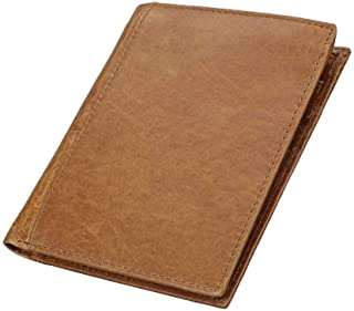 Personalized RFID Travel Wallet Genuine Leather Cowhide Leather Passport Card Holder for Man (Color : Brown, Size : S)